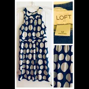 LOFT Blue Polka Dot Swing Dress A-Line Size M